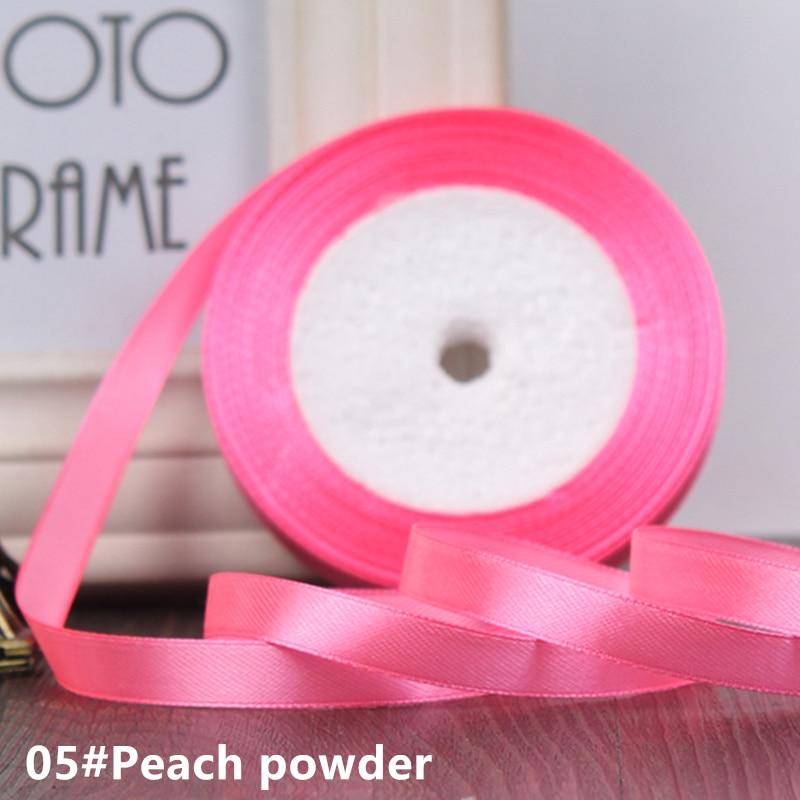 25 ярдов/рулон 6 мм 10 мм 15 мм 20 мм 25 мм 40 мм 50 мм шелковые атласные ленты для рукоделия бант ручной работы подарочная упаковка вечерние свадебные декоративные - Цвет: 05 Cherry powder