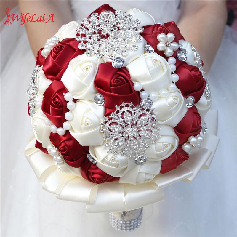 WifeLai-A 20CM Wedding Flower Bridal Bridesmaid Bling Rhinestone Bouquets Handmade Foam Rose Flowers Ivory Holding Bouquet W3217
