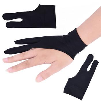 Czarny bezpłatny rozmiar dla prawej i lewej ręki rysunek artystyczny rękawiczki dla każdego tablet graficzny do rysowania Black 2 Finger Anti-zanieczyszczeniom zarówno tanie i dobre opinie Free Size Artist Drawing Glove