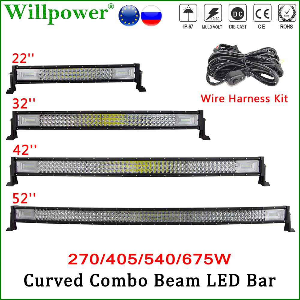 22 32 42 52 270W 405W 540W 675W Curved LED Light Bar For Jeep Polaris UTV SUV Offroad Truck 7D Car Roof LED Bar Driving DRL image