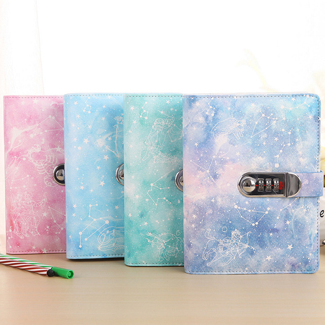 Creative 32K Cover Lockable Notebook with Lock PU Leather Diary Writing Pads Password Code Diary School Student Gift