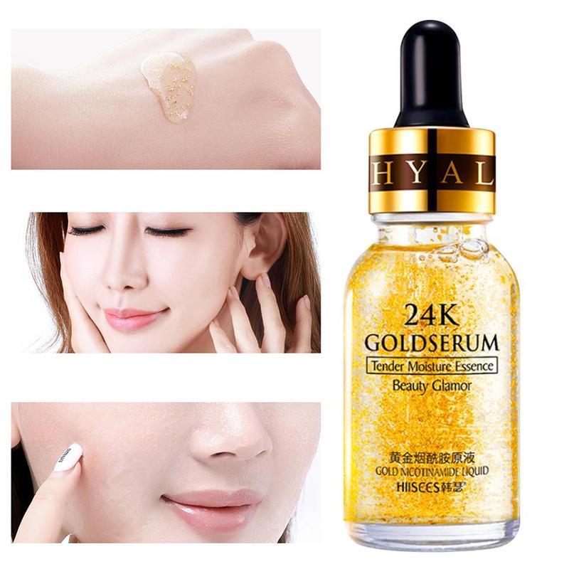 24K Gold Hyaluronic Acid Face Serum Replenishment Moisturize Shrink Pore Brighten Nicotinamide Lift Firming Skin Care