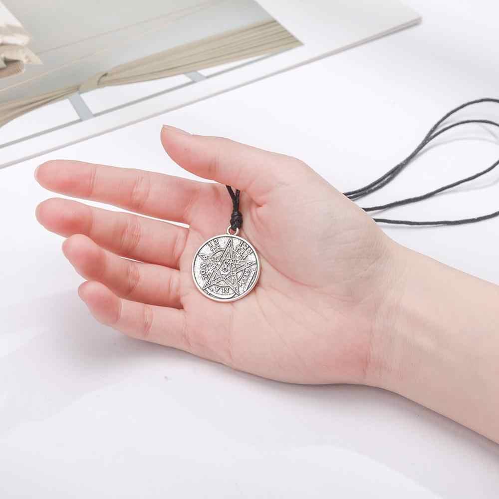 LIKGREAT szatan tetragram Pentagram Pentagram wisiorek okrągły naszyjnik srebrny kolor Wicca Amulet talizman biżuteria akcesoria