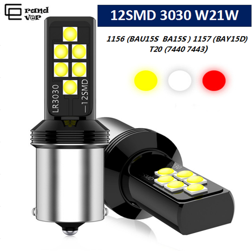 2PCS 1156 P21W <font><b>LED</b></font> BA15S BAU15S PY21W Bulb 12SMD 3030 <font><b>T20</b></font> 7440 W21W 7443 1157 BAY15D Lamp For Auto Brake Lights White <font><b>Red</b></font> Amber image