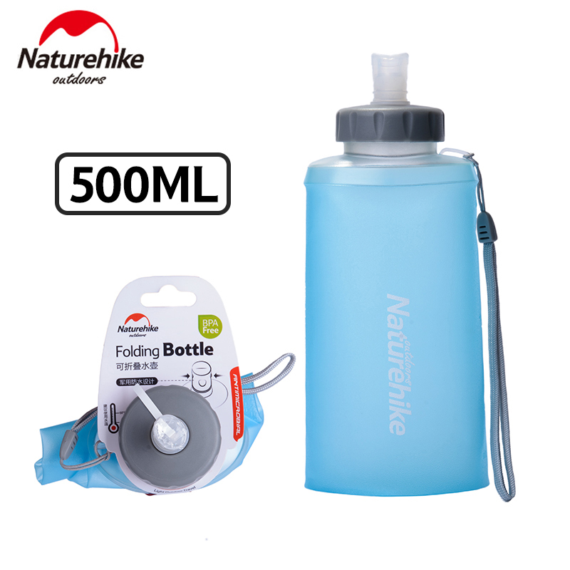 500ML Naturehike Foldable Sports Bottle Collapsible Water Bottles Outdoor Cup Portable Silicone Folding Drinkware NH61A065-B
