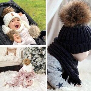 Image 5 - FURTALK gorro de invierno para niños, gorro de piel de mapache Real, y bufanda Gorro con pompón, sombreros de piel para niñas, gorros para niños, bufandas HTWL029
