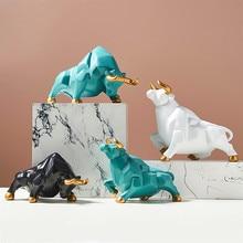 Nórdico reis forma de gado ornamentos casa decorações de mesa porcelana estatueta animal touro miniaturas decoração modelo animal