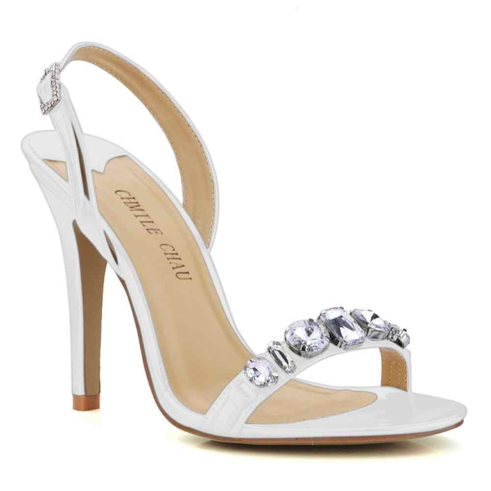 CHMILE CHAU Silber Patent PU Sexy Kleid Party Damenschuhe Dünne Ferse Fersenriemen Sandalen mit Strass Zapatos Mujer 5186-2