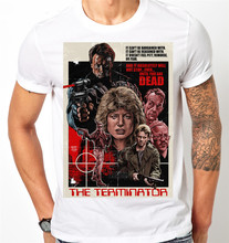 The Terminator Retro Movie Poster Arnold Schwarzenegger Skynet Mens T Shirt Free Shipping Tops Tee Shirt(China)