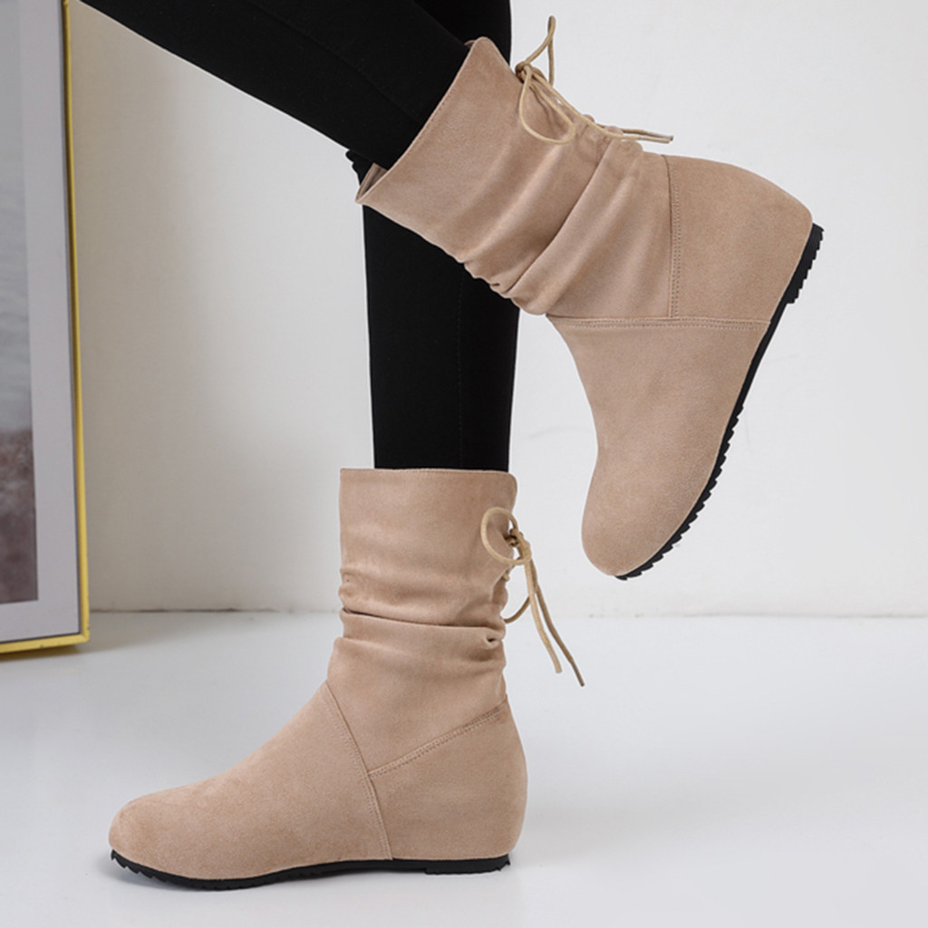 Women Snow Boot For Winter Shoes Fashion Pure Color Round Toe Lace-up Boots Flat Heels Vintage Boots Botas Mujer Invierno 2019