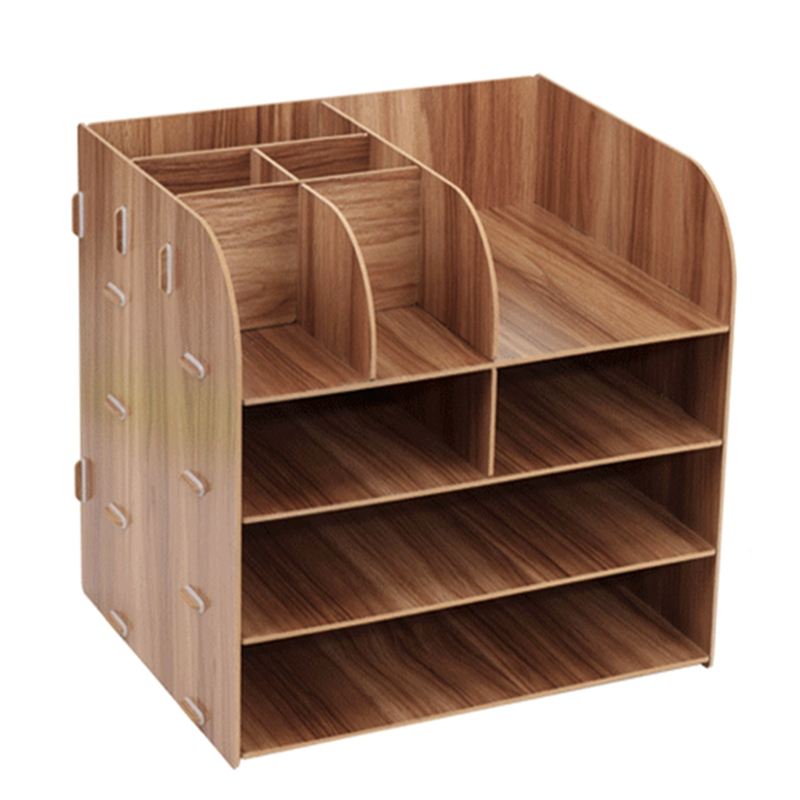 Wooden DIY Assemble Desktop Organizer Office Desk Organizer Drawer File Holders For Office Desktop Magazine File Organizer