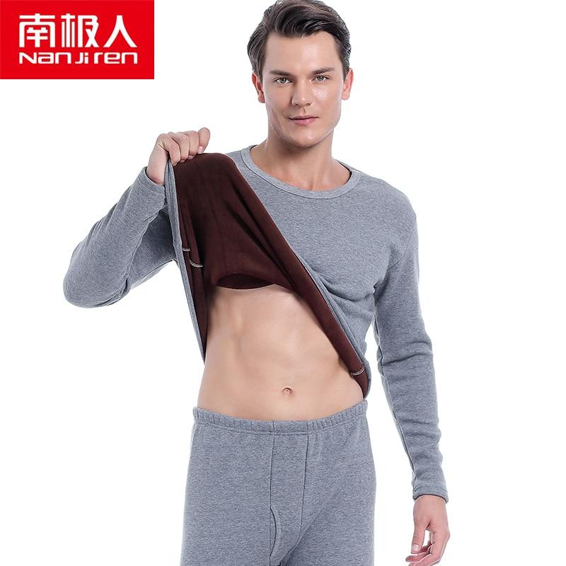 NANJIREN Men Brand Thermal Underwear Sets Men Gray Warm Casual Underwear Hight Stretch Long Johns Set Old MenThermal Pajamas 7XL