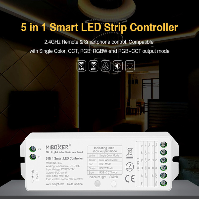Mi Boxer LS2,Led Controller 5 IN 1 MI Boxer DC12-24V RGB WIFIled Controller Single Color RGB+CCT RGBW RGBWW Led Strip Controler