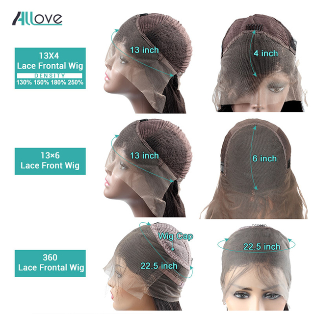 Allove Straight Lace Front Human Hair Wigs Remy 360 Lace Frontal Wig 13X4 13X6 Brazilian Straight Lace Front Wig 250 Density 5