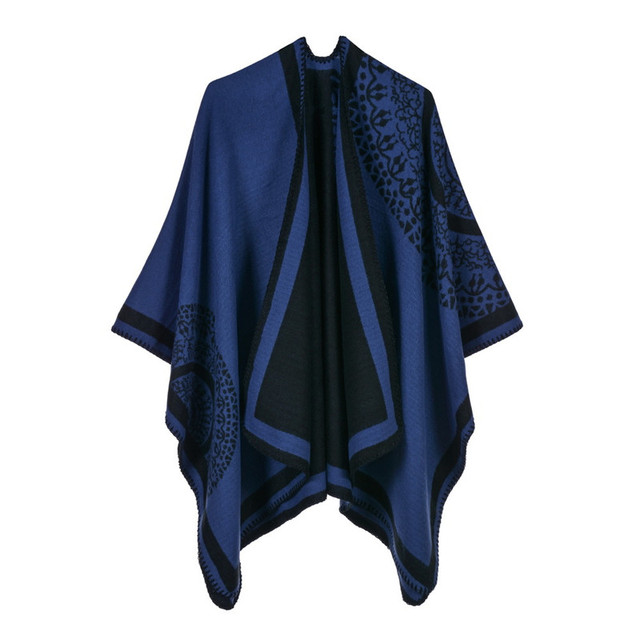 Luxury Brand Ponchos coat 2020 Cashmere Scarves Women Winter Warm Shawls and Wraps Pashmina Thick Capes blanket Femme Scarf 2