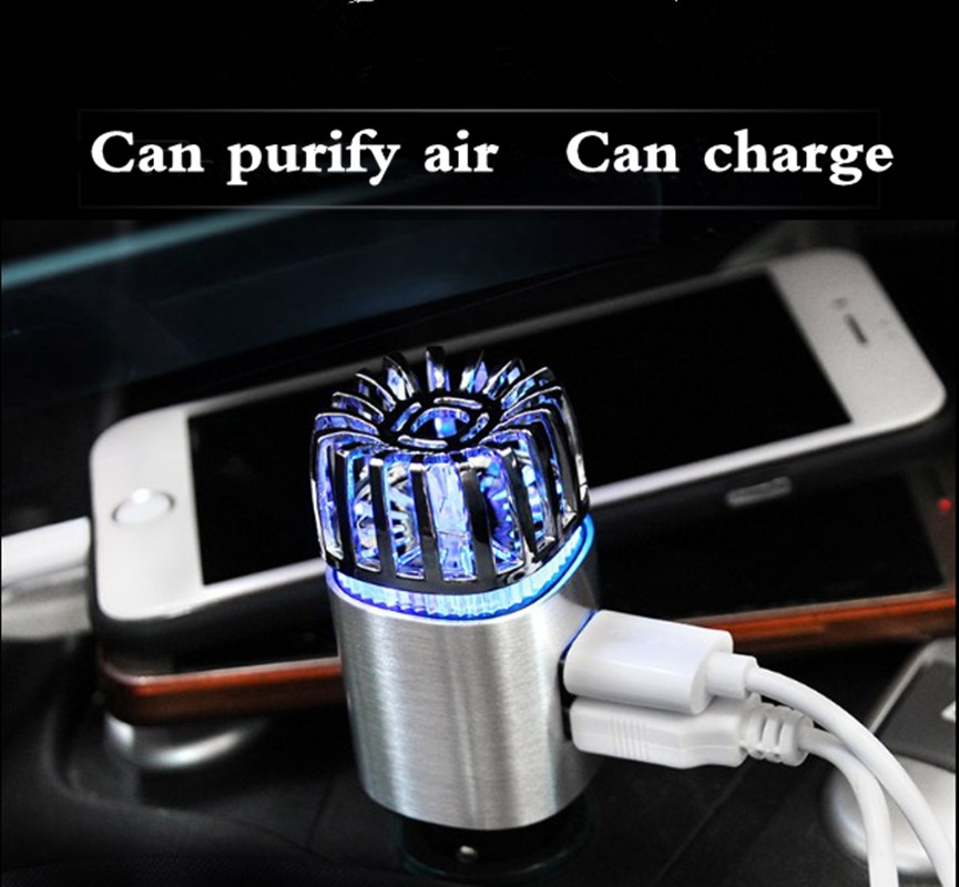 2-in-1 Car Air Purifier & Dual Fast Charge USB 5.6 Million Negative Ion Anti-Microbial, Eliminates Smoke,Pollutants, Virus,pm2.5