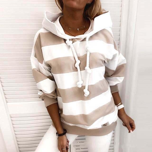Купить женский свитшот с длинным рукавом повседневный полосатый пуловер картинки цена