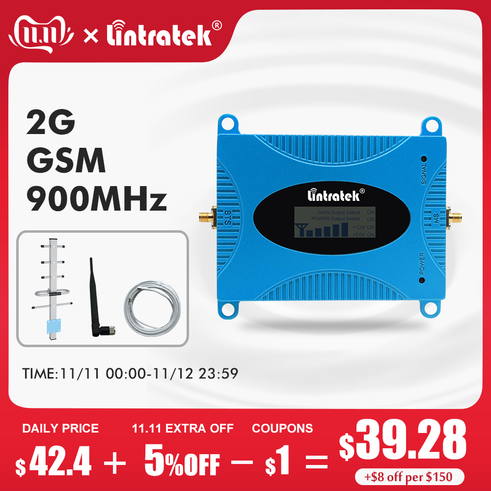 Lintratek Gsm Cellular Signal Booster 900MHz Communication Mobile Phone ACG Internet High Gain Network Amplifier LCD Display S4