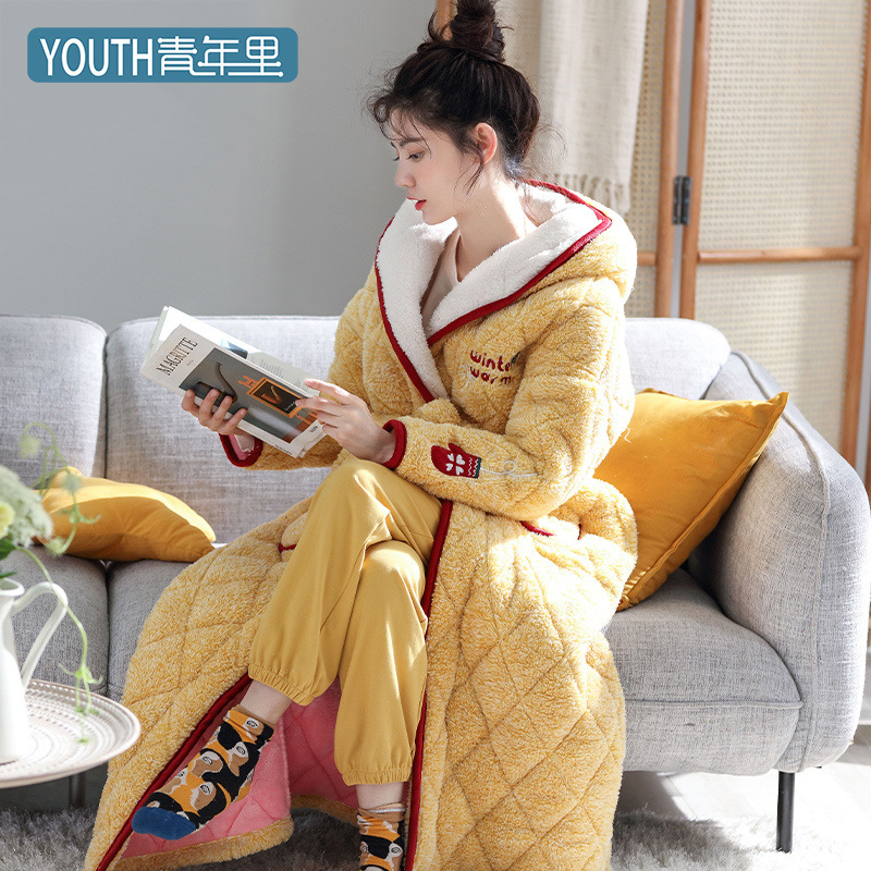 Bathrobe 2019 Winter Thickening Coral Fleece Bath Robe Sleepwear High Quality Robes Plus Size Women Clothing Bathrobe Sleepwear