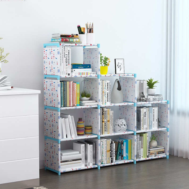 2/3/4 Layer Simple Assembled Bookshelf Corner Closet Sundries Book Storage Organizer Easy Moving Shelf Bookcase Kids Home Decor