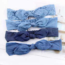 Denim Bow Headband Summer Women Cute Rabbit Ears Headband Star Striped Bowknot Hair Bands Elastic Turban Girls Hairband