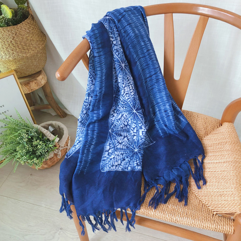 BPP Winter Fashion Blue Scarf For Women Designer China's Ethnic Style Tie-Dye Tassel Scarf Shawl Decoration Warm Scarf New 2021