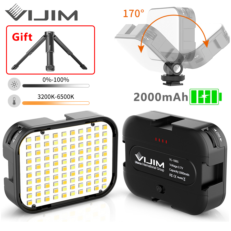 VIJIM VL100C 170° Adjustable LED Video Light With Tripod and 3 Cold Shoe Extend Camera Photography Lighting Vlog Fill Light Lamp