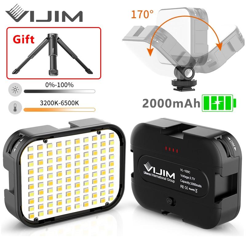 VIJIM VL100C 170 ° ajustable luz LED para vídeo con trípode y 3 Zapata fría extender Cámara iluminación Vlog llenar de luz de la lámpara