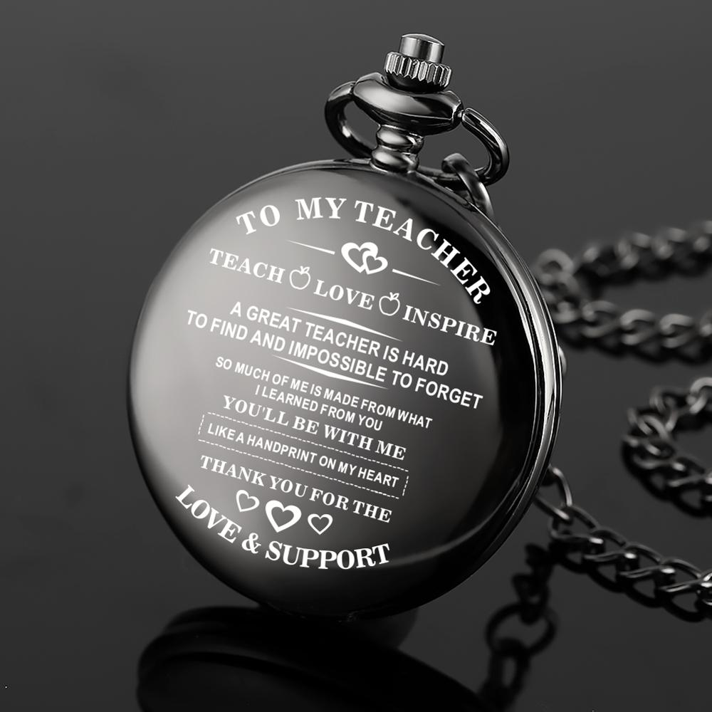 To My Teacher Series Quartz Pocket Watch Retro For Women Men Honorable Pocket Watches Alloy Chain Pocket Watch Xmas Gift Clock