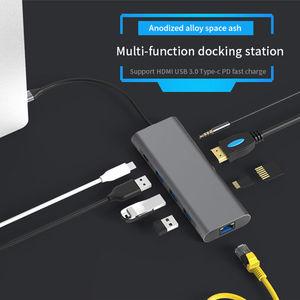 Image 2 - USB C HUB Type C to USB 3.0 HDMI RJ45 Adapter Dock for TF SD Reader Slot PD Laptop Docking Station USB Type C 3.1 Splitter Port