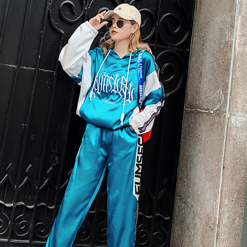 Tracksuit For Women Outfits 2019 Autumn Hip Hop Fashion Casual Sportsuit Pant Loose Long Sleeve Blue 2 Piece Set Winter Clothes