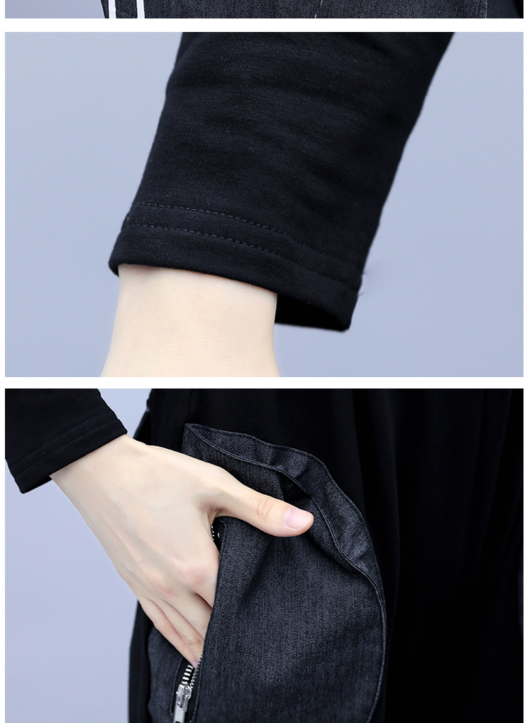 2019 Autumn Black Letters Print Two Piece Sets Sport Outfits Women Plus Size Denim Patchwork Tops And Pants Suits Casual Fashion Tracksuit 28