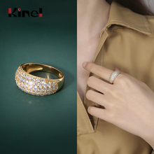 Kinel Trendy Luxury 925 Sterling Silver Wedding Ring Bridal 18K Gold Woman Jewelry 2020 NEW