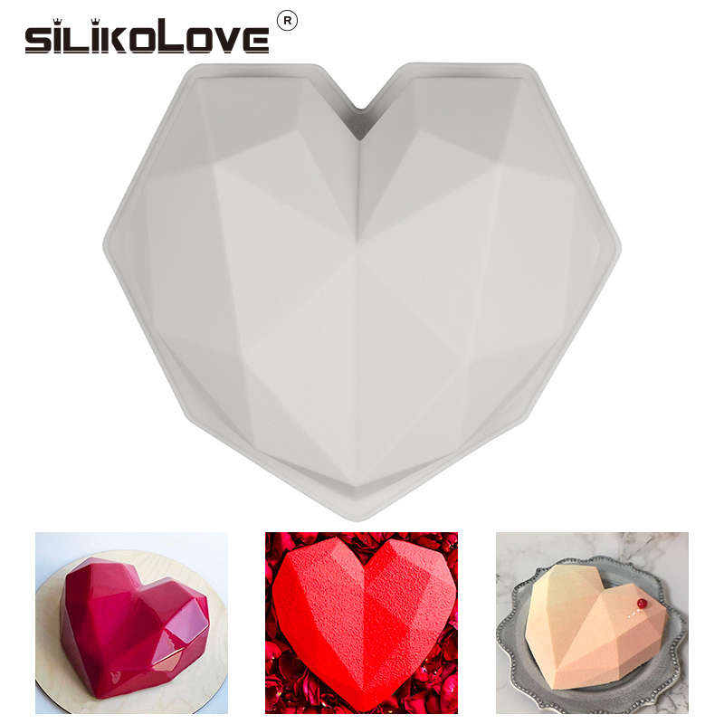 WANDIC Silicone Mold 2 Pcs Love Heart Shape Silicone Moulds 3D Heart Soap Mold for DIY Handmade Soap Crafts Silicone Heart Pendant Molds for Resin