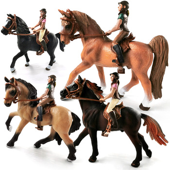 Equestrian Knight Rider Horse Figurine Farm Animal Model Action Figure Doll House Home Decoration Christmas Gift For Kid Hot Toy