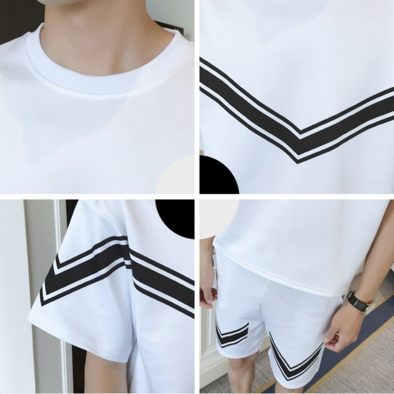 Mens Summer Tracksuit Short Sleeve T-shirt Casual Shorts Sports Suit Plus Size 4XL White Black Loose Jogging Homme 2 Pieces Set