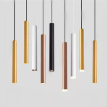 LED Dimmable Pendant Lamp Long Tube lamp Kitchen Island Dining Room Shop Bar Decoration Cylinder Pipe Pendant Light Kitchen Lamp