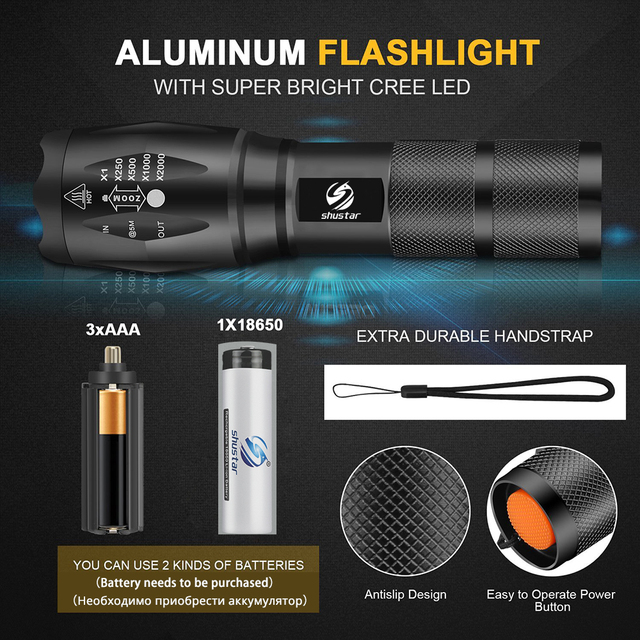 Shustar Led flashlight Ultra Bright torch L2/V6 Camping light 5 switch Mode waterproof Zoomable Bicycle Light  use 18650 battery 5
