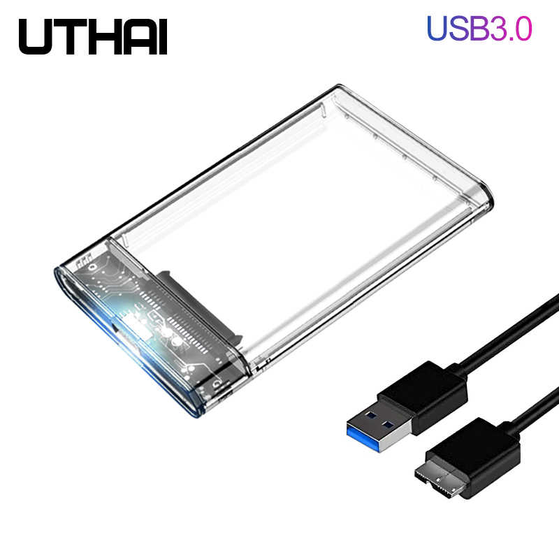 Uthai G06 USB3.0/2.0 HDD Enclosure 2.5Inch Serial Port SATA SSD Hard Drive Case Mendukung 6TB Transparan ponsel Eksternal HDD Case