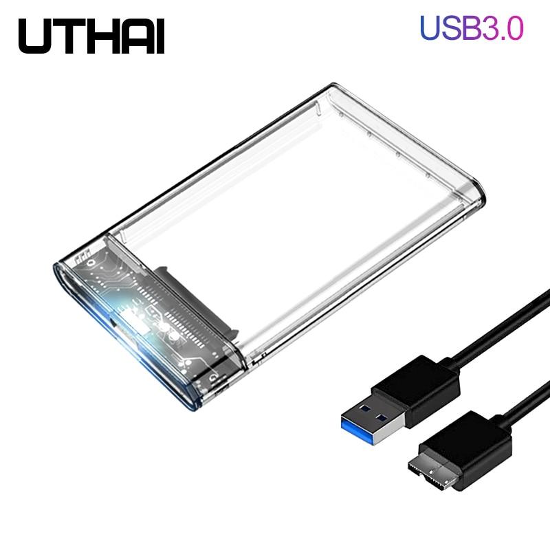 Uthai g06 usb3.0 hdd gabinete 2.5 polegada porta serial sata ssd disco rígido caso suporte 6 tb transparente móvel externo hdd caso