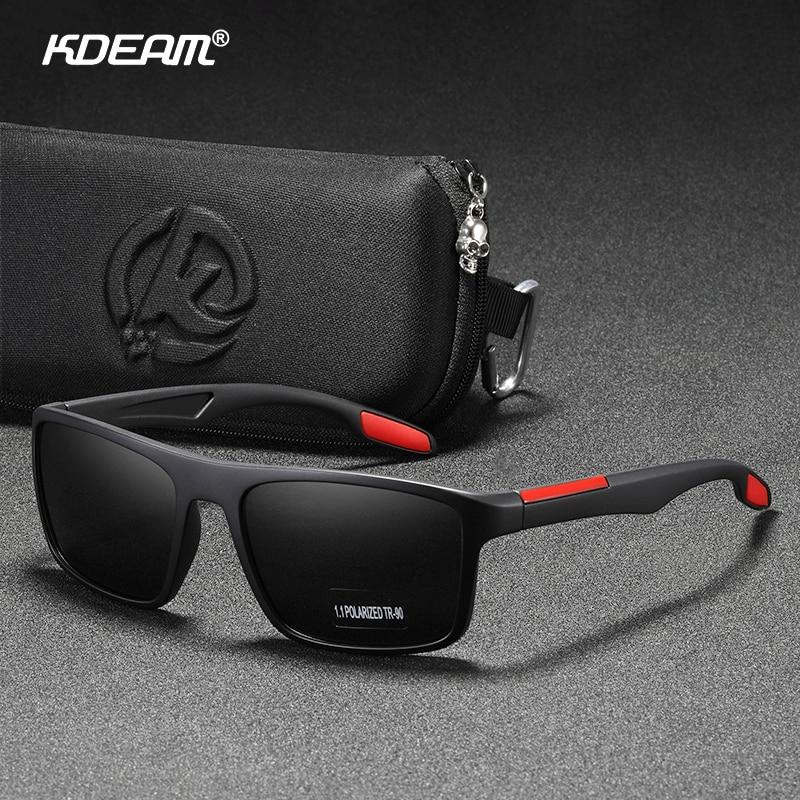 KDEAM Rectangular Ultra Light TR90 Sunglasses Men Polarized TAC 1.1mm Thickness Lens Driving Sun Glasses Women Sports Cat.3 1