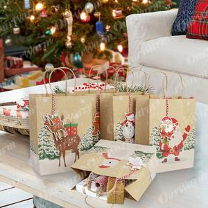 Image 5 - OurWarm Kraft Paper Bags Candy Box Christmas Goodie Bags Paper Gift Bags Paper Christmas Packaging Sweets Popcorn Box 23x9x18cm