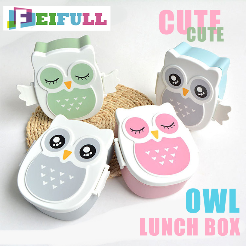 Kids Lunch Box Container Kids Bento Lunch Box Cartoon Animal Owl Food Container Lunchbox  Microwave Children's School Bento Box
