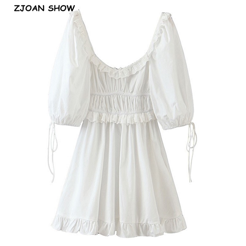 2020 Retro Hollow Out Embroidery wood ears Square Collar Short Dress White Puff Sleeve Women Elastic Ruched Holiday Dresses