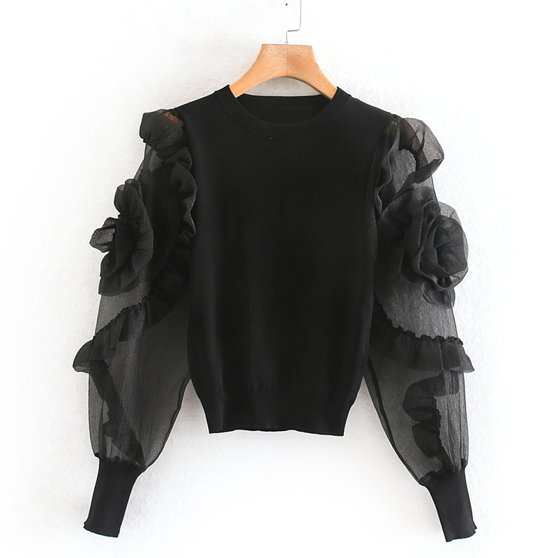 Transparent Organza Patchwork Blouses Women Fashion Floral Appliques Elastic Waist Tops Elegant Ladies Long Sleeve Shirts