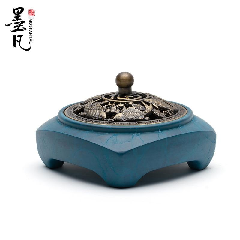 Buddhist Incense Burner Copper Antique Bedroom Blue Smell Diffuser Incense Holder Kominek Do Wosku Buddhist Supplies MM60XXL
