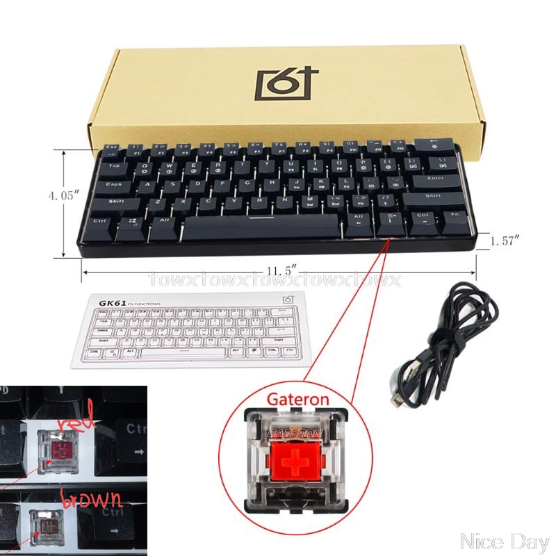 Mechanical-Keyboard Wired Backlit-Axis Gaming Desktop GK61 USB for Jy17/19/Dropship 61-Key