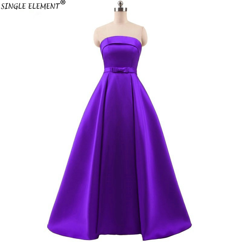 100% Real Photo Elegant Satin Strapless Custom Made Formal Evening Dresses Plus Size