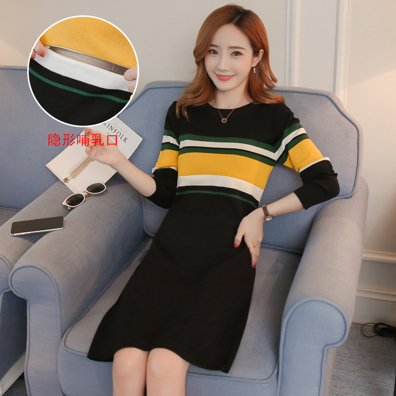 2019 Autumn And Winter Breastfeeding Warm Dress Stripe Maternity Clothes Nursing Dress For Pregnant Women Feeding Sweater