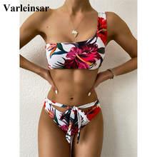 Bikini Floral de un hombro para mujer, traje de baño femenino, conjunto de Bikini de dos piezas, bañador, V2352, novedad de 2021